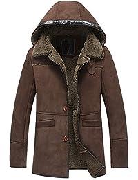 Denny   Dora Kapuze Abnehmbare Herren Shearling B3 Mantel Lange Regular Fit  Jacke Military Style Lammfell 93bf418e6b
