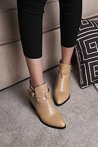 Mee Shoes Damen warm gefüttert chunky heels Ankle Boots Aprikose