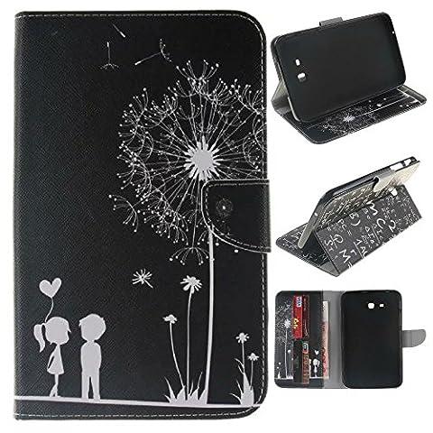 Skytar Samsung Galaxy Tab 3 7.0 Lite Hülle - PU Leder Flip Cover Case Stand Hülle für Samsung Galaxy Tab 3 7.0 Lite T110 T111 T113 T116 (7 Zoll) Tablet Schutzhülle Tasche Etui mit Karten-slot,Schwarz