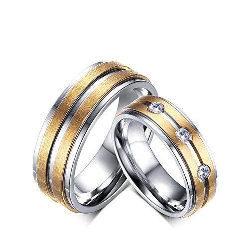 Beglie 2 Stück Edelstahl Diamant Ring Gelb Trauringe Gold Bicolor Gold Silber Verlobungsring Schwarz mit Gravur für Frauen Männer Frau:60 (19.1) & Mann:57 (18.1) (Gelber Princess-cut Diamant-ring)