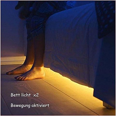 Jindia Bewegung aktiviert Bett Licht, Flexible LED Streifenlicht, Auto Ein/Aus Bewegungsmelder Nachttischlampe, Bewegung aktivierte LED-Lichtleiste (zwei Sensoren)