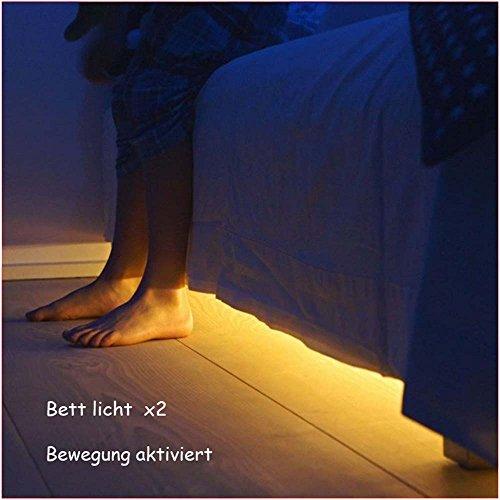 20 Zwei-licht (Jindia Dimmbar Bewegung aktiviert Bett Licht, Flexible LED Streifenlicht, Auto Ein/Aus Bewegungsmelder Nachttischlampe, Bewegung aktivierte LED-Lichtleiste (zwei Sensoren))