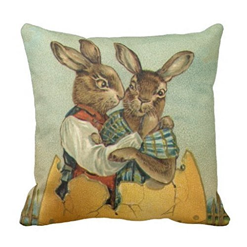 Hmihilu Vintage Victorian Easter Bunnies, Giant Easter Egg Pillow Cover Square Decorative Throw Pillow Case Cushion Cover,Cushion Pillow Case with Comfortable Size for Home Decoration 16