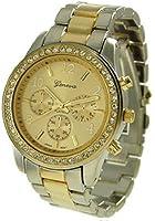 Geneva Platinum Women's 9073.TwoTone Silver Stainless-Steel Quartz Watch with Gold Dial