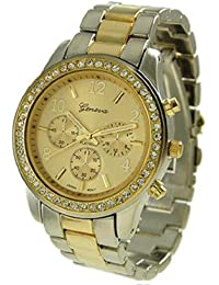 71abe9944 Geneva Platinum Women's 9073.TwoTone Silver Stainless-Steel Quartz Watch  with Gold Dial