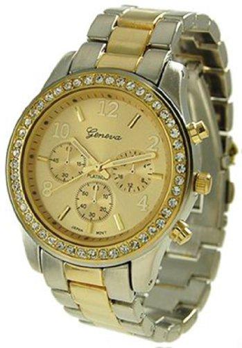 Reloj de Cuarzo para Mujer de Acero Inoxidable Plateado de Dos Tonos 9073 con Esfera de Color Oro para Mujer de Geneva Platinum