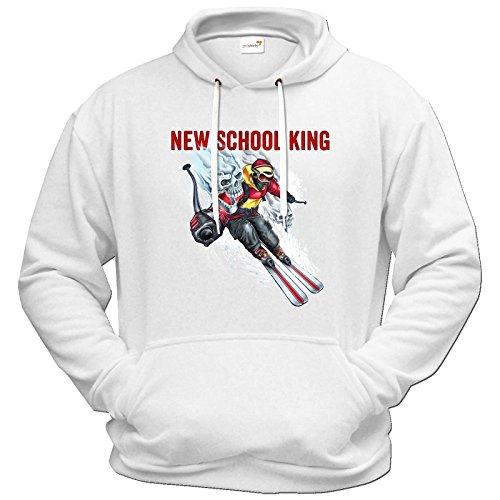 getshirts - RAHMENLOS® Geschenke - Hoodie - Winter Sports Ski Style NEW SCHOOL KING - weiss XXL