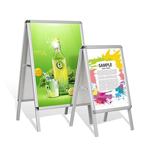 Femor Plakatständer 2 Fächer DIN A1/A2 mit Elegantem Aluminiumrahmen Plakatständer Kundenstopper Aufsteller VERBESSERT !(DIN A2)