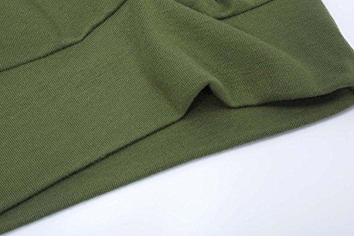 Hownew-X Damen Pullover Casual Langarm Rundhals Asymmetrisch Oberteile Oversize Langarmshirt Sweater Grün