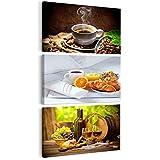 decomonkey | Bilder Kaffee 30x60 cm | 3 Teilig Leinwandbilder | Bild auf Leinwand | Vlies | Wandbild | Kunstdruck | Wanddeko | Wand | Wohnzimmer | Wanddekoration | Deko | Coffee Wein Küche