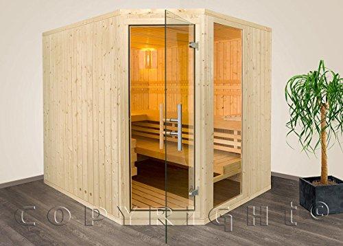 Sauna Massivholz 206 x 162 x 204 cm mit Eckeinstieg Aktion inkl. Saunaofen Steuergerät