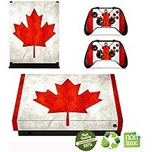 Xbox One X Pegatina Decals Morbuy Skin Adhesivo de Vinilo Stickers Cover Estilo de la Bandera Protector Console and 2 Controllers (Bandera canadiense vintage)