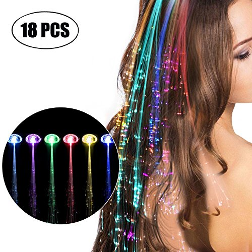 LED-Haarspange, Kapmore 18 Stücke LED Haarverlängerungs Clip LED Haar Lichter Verlängerungen...