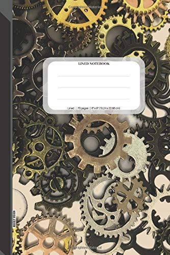 Lined Notebook: 70 Page Journal, 6x9, (15.24 x 22.86 cm), Pattern of Metal Gears, Soft Matte Journal Cover -