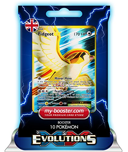 my-booster Pidgeot EX Full Art 104/108 XY12 Evolutions - Booster mit 10 Englisch Karten Pokemon (Full Art Karten Ex Pack Pokemon)