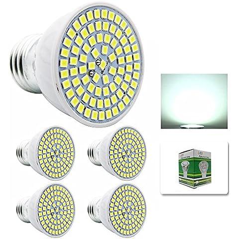 Mengjay® 4 x Confezione lampadine a LED 6000-7000K lampadine LED 5W in bianco freddo in sostituzione di lampade alogene 50W, E27, 80 SMD 5370, lampadine LED 220V AC