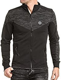 BLZ jeans - Gilet sweat zippé homme noir chiné