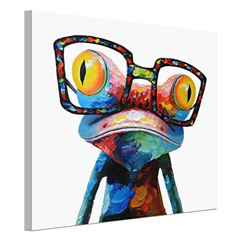 Pintura en lienzo de rana