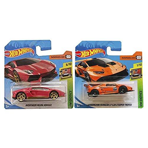 Mattel Cars Hot Wheels Lamborghini Aventador Miura Homege & Lamborghini Huracán LP 620-2 Super Trofeo - Pack