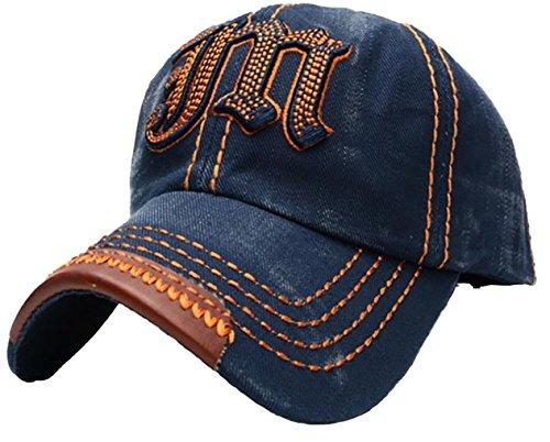 Navy Vintage Cap (4sold Cotton embroidered Baseball Cap Snapback Trucker Hat Distressed Vintage (one size, JM navy orange))