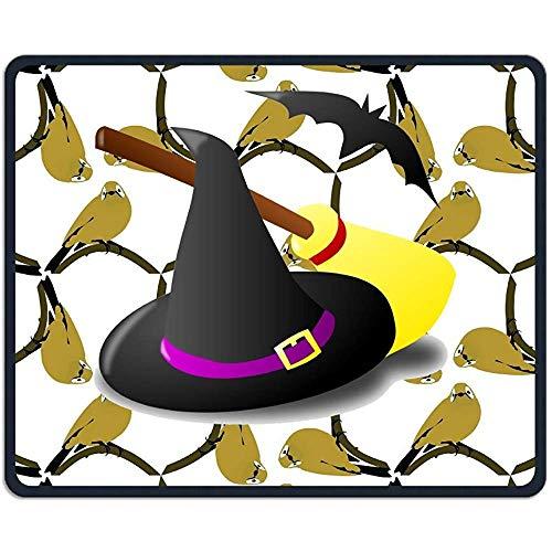 Mau Mat,Halloween Hexenhut Besen Und Fledermaus Schöne Persönlichkeit Design Mobile Gaming Mouse Pad 18X22 Cm
