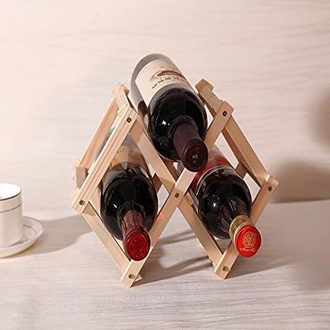 Fan-tastik 3-Bottle Pine Wooden Folding Wine Rack Natural Color by Fan-tastik