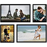 Swadesi Stuff Latest Design Classic Set Of 4 Black Individual Family Wall Hanging Collage Photo Frames (a15)
