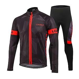 Lixada Men's Cycling Clothing Suit Winter Thermal Fleece Sportswear Set Long Sleeve Windproof Jersey Coat Jacket + 3D Padded Pants Trousers