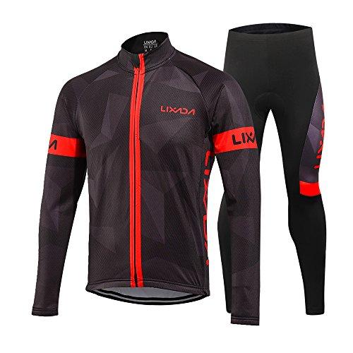 Lixada Completo Ciclismo Abbigliamento Set Inverno Termico Vello Maniche Lunghe Antivento Ciclismo Maglia + 3D Pantalone Imbottito