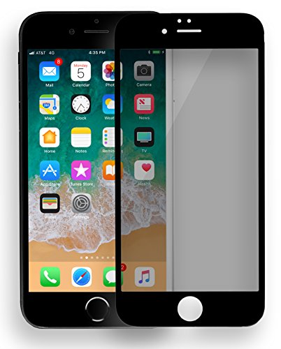 MyGadget Blickschutz Folie für Apple iPhone 6+ / 6s Plus - Panzerglas Anti Spy 9H Glasfolie Full Screen - Harte Privacy Protector Schutzfolie in Schwarz