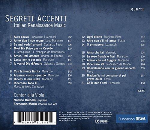 Segreti Accenti. Musique pour voix et viole de la Renaissance italienne. Cantar alla Viola.