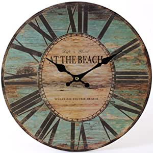 watching clocks horloge murale en bois style rustique motif beach turquoise grand format amazon. Black Bedroom Furniture Sets. Home Design Ideas