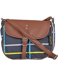 Hexagon Women's Sling Bag (Green & Brown, S122_BlackChecks)