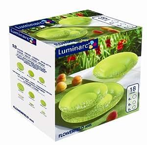 Luminarc 9202498 Service 18 pièces 6 Plates + 6 Creuses + 6 Dessert Flowerfield Anis