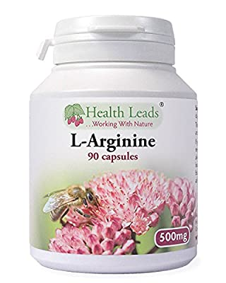L-Arginine 500mg x 90 capsules (100% Additive Free Supplements) from Health Leads UK