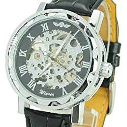 Central World Winner Transparent Skeleton Mechanical Watch with Round Dial/Roman Scale/Leather Band-Black