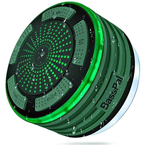 BassPal Dusche Lautsprecher, Wasserdicht IPX7 Tragbare Wireless Bluetooth 4.0 Lautsprecher mit Super Bass und HD Sound, Perfekte Lautsprecher für Strand, Pool, Küche & Home (03.Army grün)