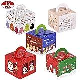 15 Pezzi Scatole Regalo di Natale Confezioni per Caramelle di Favore Trattare di Natale per Decorazione del Partito