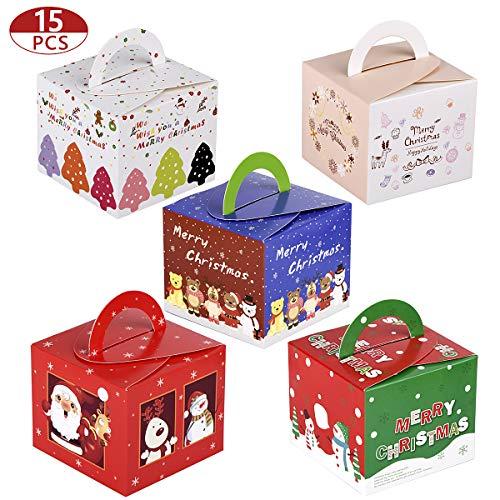15 Piezas Cajas Kraft para Regalo de Navidad