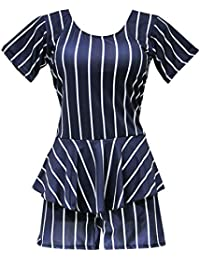 I-Swim Ladies Swimming Costume Black with White Stripes