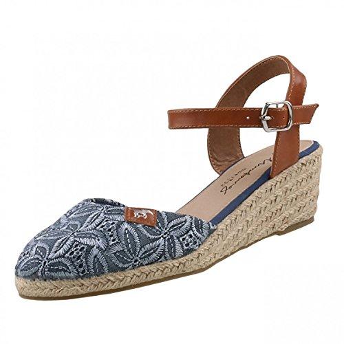 Mustang Damen 1066-910-8 Riemchensandalen, Blau (Blau), 36 - Stoff Sandalen Keil Schuhe Damen