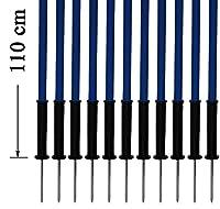 agility sport pour chiens - lot de 12 piquets de slalom, bleu - 110 cm x Ø 25 mm avec des ressorts flexibles en métal - contient également un sac pratique