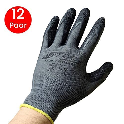 NITRAS Nylotex 3520 Nylon Latex Gloves Guantes de trabajo 12 PAR, Gris / Amarillo, 8