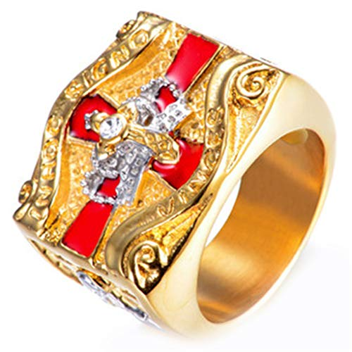 Bulaouz Herren Titan Stahl Kreuz Krone Diamant Golden Hiphop Templer-Ritter Freimaurer Ringe,Größe 70 (22.3) - Ringe Freimaurer Diamant