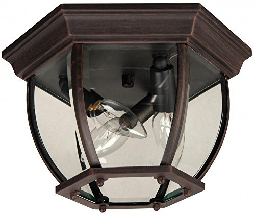 tdoor Flush Mount Light with Beveled Glass Shades, Rust Finish by Craftmade ()