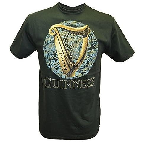 Flasche grün GUINNESS T-Shirt mit irischen Harfe Design mit blauer Keltisch Design - Grün, X-Large