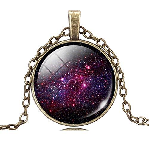 Geheimnisvolles Lila Galaxie Glas Zeit Edelstein Anhänger Kette Halskette Für Frauen