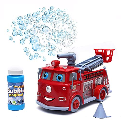Saiyam Fire Rescue Pumper Bubble Blowing Bump Toy Truck with Lights & Sounds (Red)