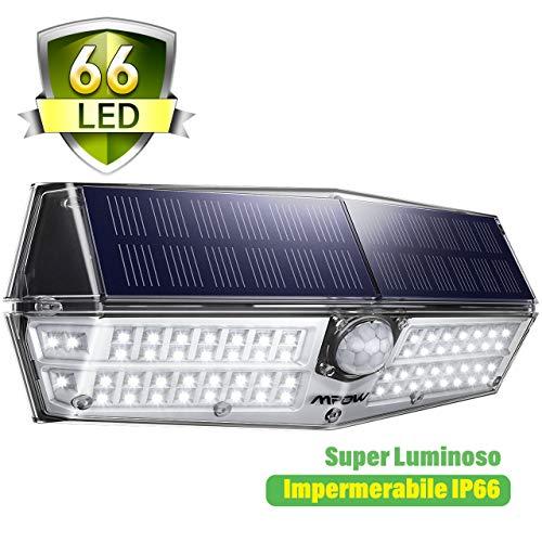 Mpow Luce Solare 66 LED, 3 Modalità di Illuminazione, IP66 Impermeabile, Lampada Solare con Sensore di Movimento, Super SunPower Pannello Solare, Lampada Solare Esterna per Giardino/Cortile/Garage ecc
