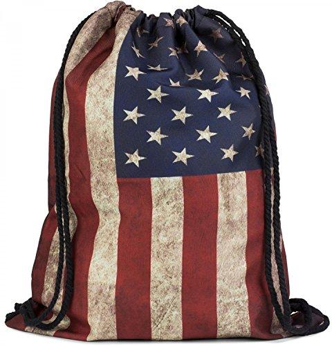 styleBREAKER Turnbeutel Rucksack im USA Stars and Stripes Vintage Design, Sportbeutel, Unisex 02012081, Farbe:Rot-Weiß-(Beige)-Blau (Stars Stripes-flagge And)
